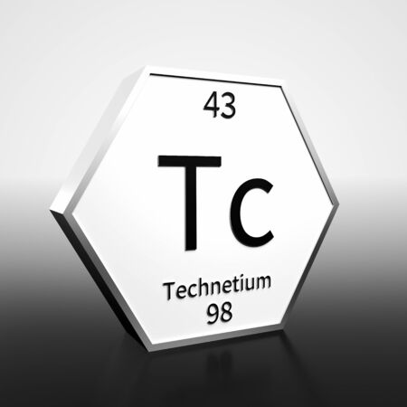 Metal hexagonal block representing the periodic table element Technetium. Presented as black text on a white backing plate with a black and white gradient background. This image is a 3d render. Foto de archivo - 137759450