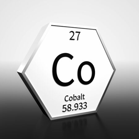 Metal hexagonal block representing the periodic table element Cobalt. Presented as black text on a white backing plate with a black and white gradient background. This image is a 3d render.