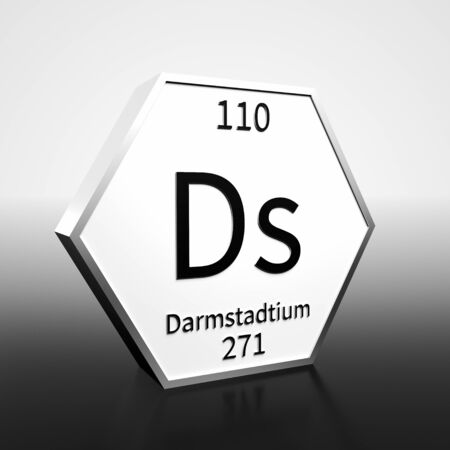 Metal hexagonal block representing the periodic table element Darmstadtium . Presented as black text on a white backing plate with a black and white gradient background. This image is a 3d render.
