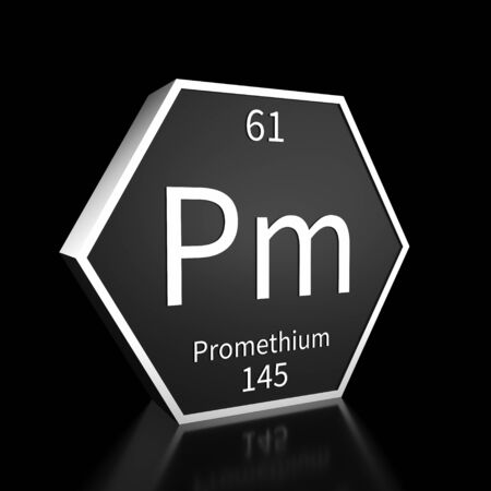 Metal hexagonal block representing the periodic table element Promethium. Presented as white text on a black backing plate with a black background. This image is a 3d render.