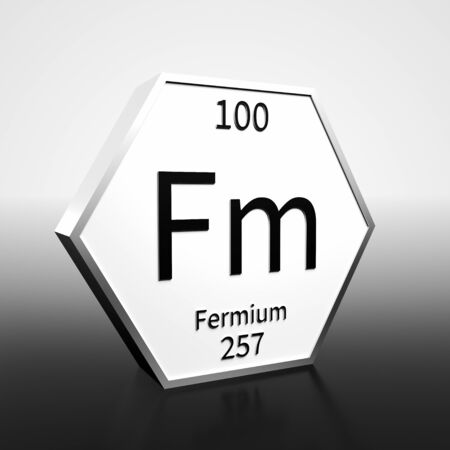 Metal hexagonal block representing the periodic table element Fermium. Presented as black text on a white backing plate with a black and white gradient background. This image is a 3d render. Banco de Imagens