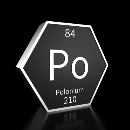 Metal hexagonal block representing the periodic table element Polonium. Presented as white text on a black backing plate with a black background. This image is a 3d render. Foto de archivo - 137759459