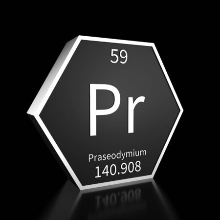 Metal hexagonal block representing the periodic table element Praseodymium. Presented as white text on a black backing plate with a black background. This image is a 3d render. Foto de archivo - 137759465