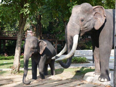 Elephant statue at Dusit zoo. Stock Photo