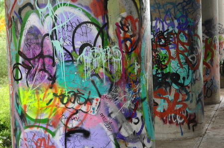 view of graffitis on a walls of the city Editorial