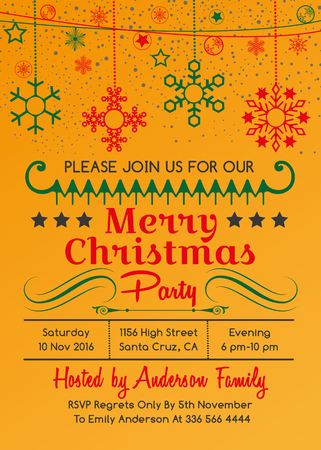 Christmas Party Invitation Design Template Yellow