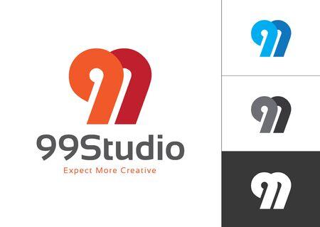 Initial Number 99 Connected Each Other Vector Logo Design Template. Vector Elements for Company Logo, T-shirts, Cards etc. Иллюстрация