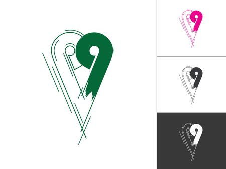 Creative Alphabet and Number Logotype Sketch Concept in Vector. Modern Abstract Logo Design Elements in Green and Pink Color. Alphabet P and Number 9 Inside This Designs Elements.