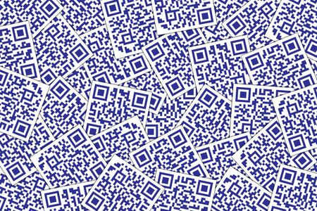 QR Code Dark Blue Background. Quick Response Code for Supermarket, E-commerce, Shop Etc. Banque d'images - 126040753