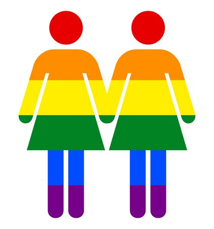 Rainbow Woman Sign. LGBT Rainbow Pride Symbol. Lesbian Pride Vector Illustration Concept of Same-sex Homosexual Relationships. The Colors Reflect The Diversity of The LGBT Community.