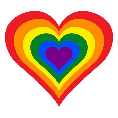 LGBT (Lesbian, Gay, Bisexual and Transgender) Pride Rainbow Heart in Vector Illustration Format. Illustration