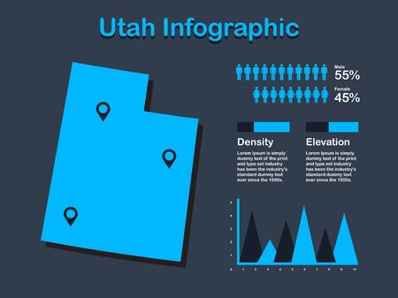 Utah State (USA) Map with Set of Infographic Elements in Blue Color in Dark Background. Modern Information Graphics Element for your design.