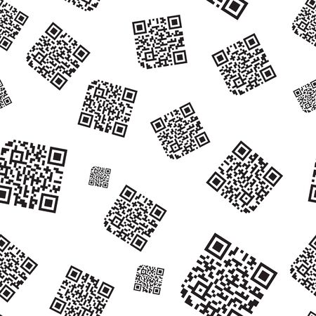 Seamless QR Code Pattern Abstract Vector Background. Quick Response Code for Supermarket, E-commerce, Shop Etc. Banque d'images - 127578986