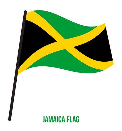 Jamaica Flag Waving Vector Illustration on White Background. Jamaica National Flag.
