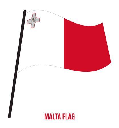 Malta Flag Waving Vector Illustration on White Background. Malta National Flag. 스톡 콘텐츠 - 127579293
