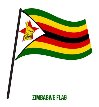 Zimbabwe Flag Waving Vector Illustration on White Background. Zimbabwe National Flag.