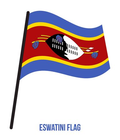 Eswatini Flag Waving Vector Illustration on White Background. Eswatini National Flag. Ilustrace