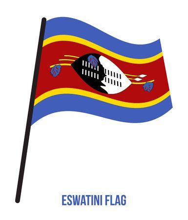 Eswatini Flag Waving Vector Illustration on White Background. Eswatini National Flag. Illustration