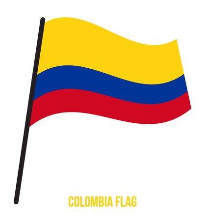 Colombia Flag Waving Vector Illustration on White Background. Colombia National Flag.