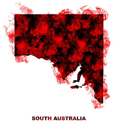 South Australia Map Fire on White Background. Bushfire In Australia Wilderness. Save Australia Concept. Series of Massive Bushfires Across Australia.