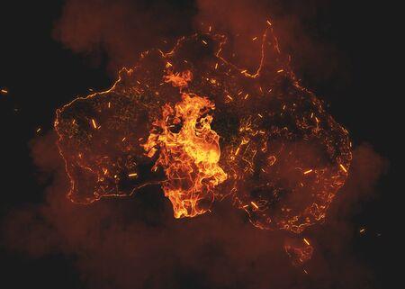 Australia Continent Map on Bushfire In Australia Wilderness. Save Australia Social Poster.