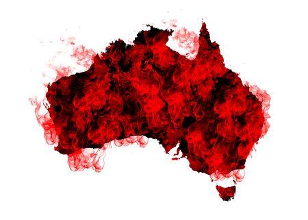 Australia Map Fire on White Background. Bushfire In Australia Wilderness. Save Australia Concept. Series of Massive Bushfires Across Australia.