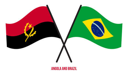 Angola and Brazil Flags Crossed And Waving Flat Style. Official Proportion. Correct Colors.