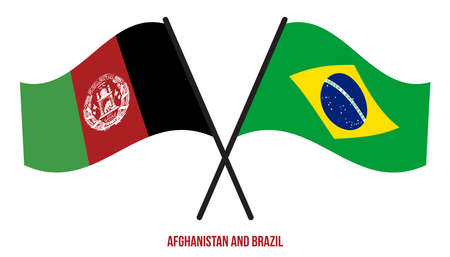 Afghanistan and Brazil Flags Crossed And Waving Flat Style. Official Proportion. Correct Colors.