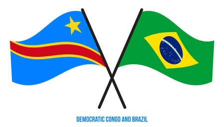Democratic Congo and Brazil Flags Crossed & Waving Flat Style. Official Proportion. Correct Colors.