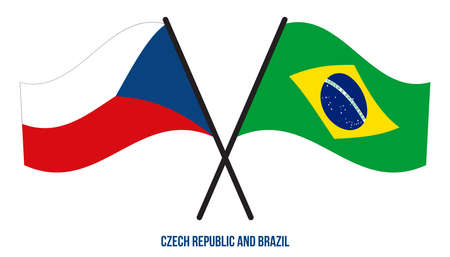 Czech Republic and Brazil Flags Crossed And Waving Flat Style. Official Proportion. Correct Colors. Illustration