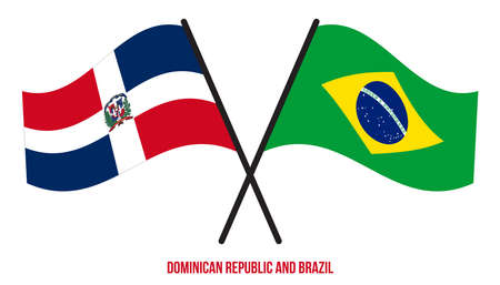 Dominican Republic and Brazil Flags Crossed And Waving Flat Style. Official Proportion.