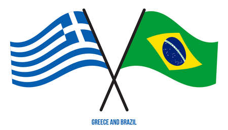 Greece and Brazil Flags Crossed And Waving Flat Style. Official Proportion. Correct Colors.