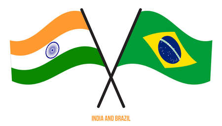 India and Brazil Flags Crossed And Waving Flat Style. Official Proportion. Correct Colors.