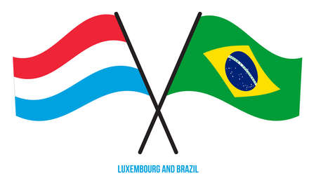 Luxembourg and Brazil Flags Crossed And Waving Flat Style. Official Proportion. Correct Colors.