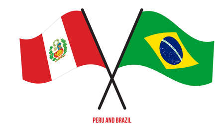 Peru and Brazil Flags Crossed And Waving Flat Style. Official Proportion. Correct Colors.