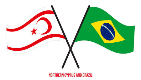 Northern Cyprus and Brazil Flags Crossed And Waving Flat Style. Official Proportion. Correct Colors.