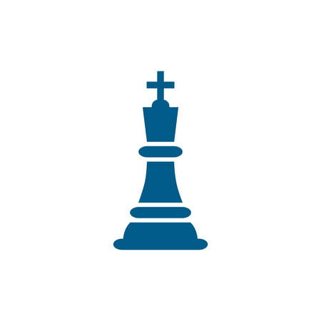 Chess King Blue Icon On White Background. Blue Flat Style Vector Illustration.