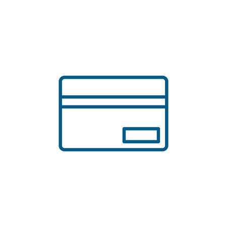 Credit Card Line Blue Icon On White Background. Blue Flat Style Vector Illustration.