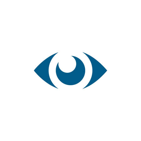 Eye Blue Icon On White Background. Blue Flat Style Vector Illustration.