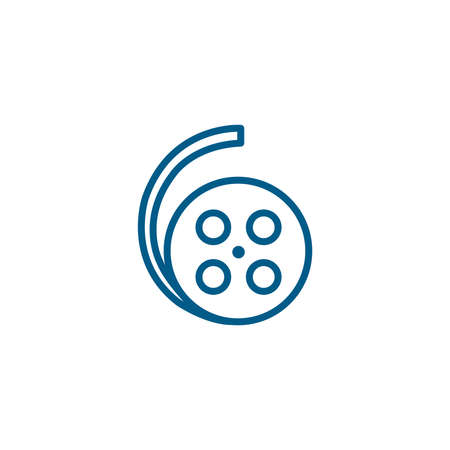 Film Reel Line Blue Icon On White Background. Blue Flat Style Vector Illustration. 일러스트