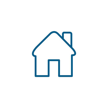 Home Line Blue Icon On White Background. Blue Flat Style Vector Illustration.