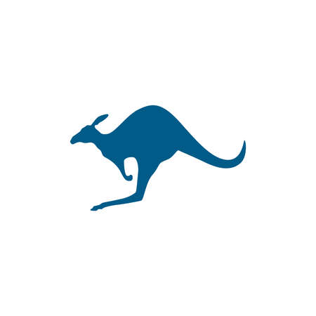 Kangaroo Blue Icon On White Background. Blue Flat Style Vector Illustration. Illusztráció