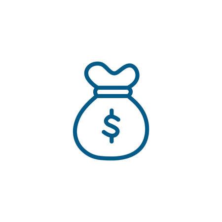 Money Sack Line Blue Icon On White Background. Blue Flat Style Illustration.