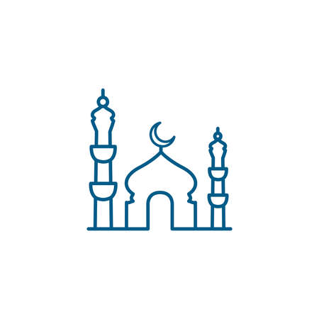 Mosque Line Blue Icon On White Background. Blue Flat Style Illustration.