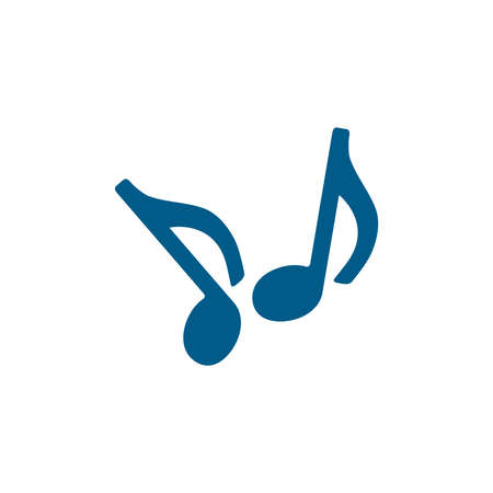 Music Note Blue Icon On White Background. Blue Flat Style Vector Illustration. 일러스트