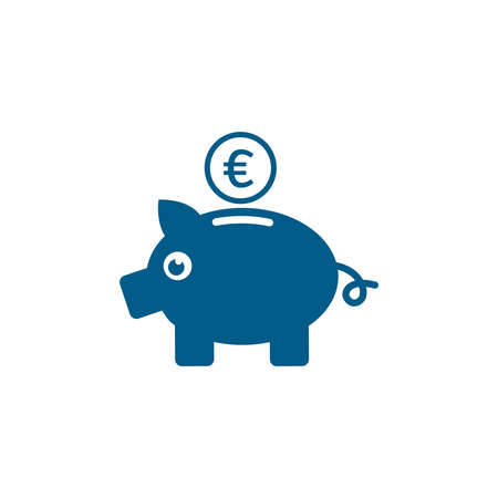 Piggy Bank Blue Icon On White Background. Blue Flat Style Vector Illustration.