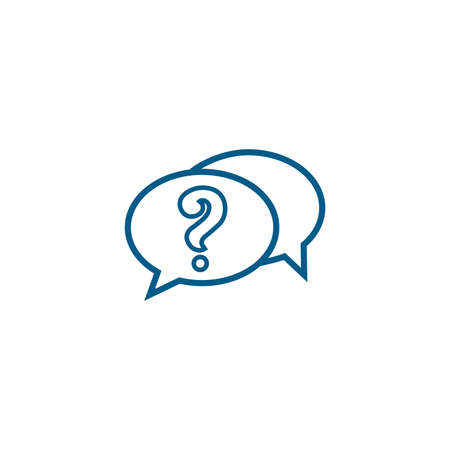 Question Line Blue Icon On White Background. Blue Flat Style Vector Illustration.