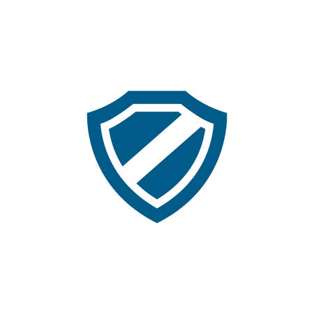 Shield Blue Icon On White Background. Blue Flat Style Vector Illustration. Vecteurs