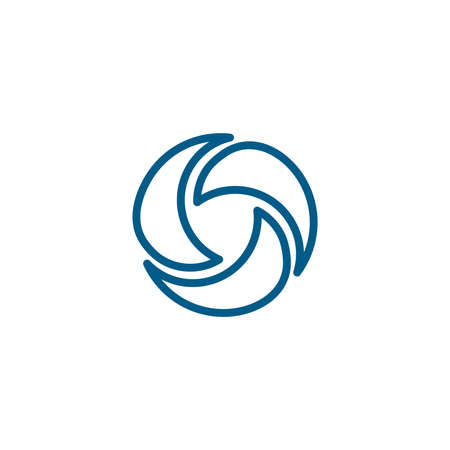 Shutter Line Blue Icon On White Background. Blue Flat Style Vector Illustration.