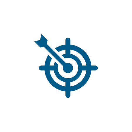Target Blue Icon On White Background. Blue Flat Style Vector Illustration. Vecteurs